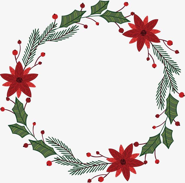 红花绿叶圣诞节花环
