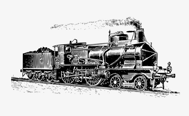 欧式复古手绘线描火车