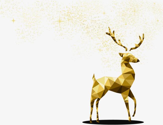 圣诞节金色折纸麋鹿