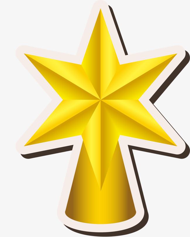 手绘金色五角星白边
