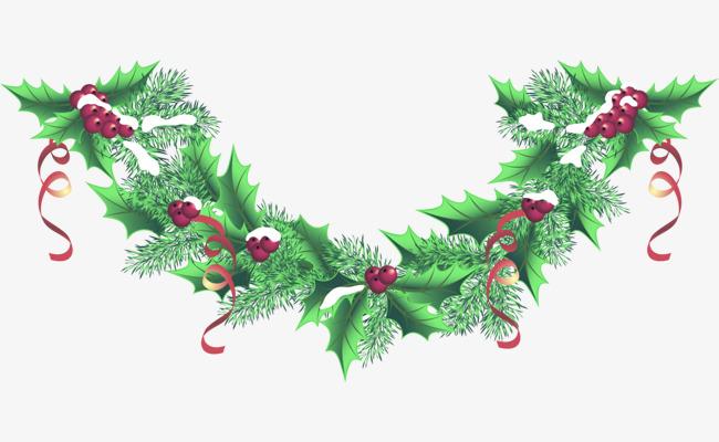 圣诞节绿色松叶装饰