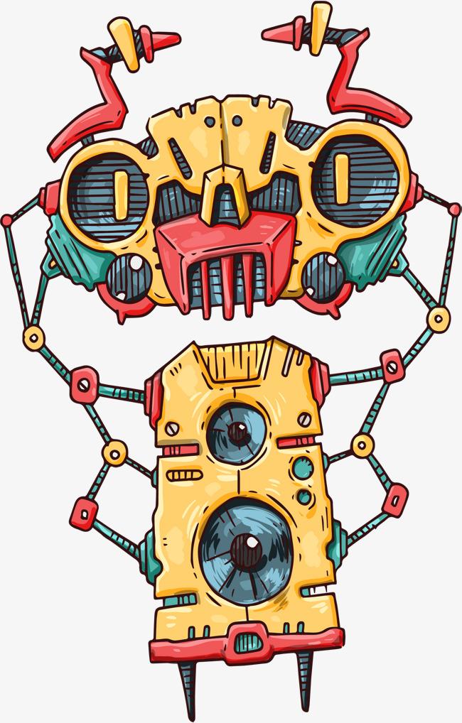 手绘动物机器矢量图动物机器矢量图手绘机器人机器抽象机器人动物机