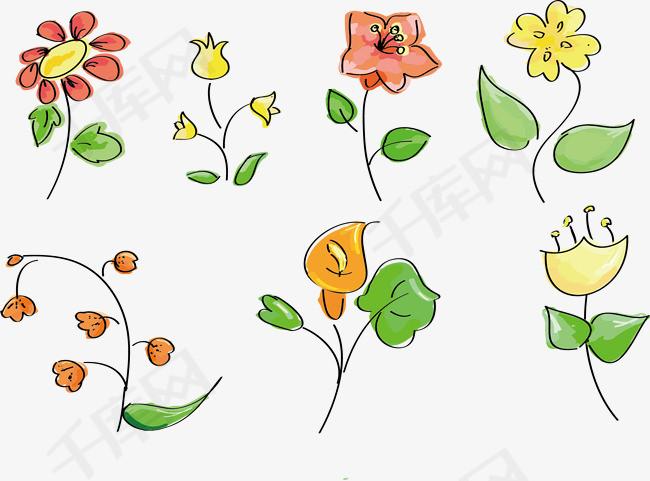 手绘花卉矢量图手绘花卉彩色插图植物简笔画花-手绘花卉矢量图素材