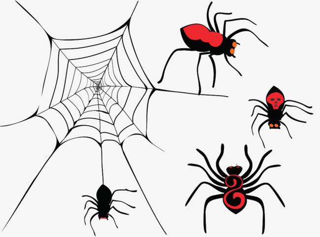 手绘卡通吐丝蜘蛛