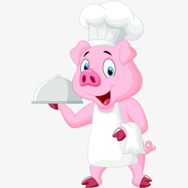 可爱的卡通小猪厨师手托盘子插画免抠