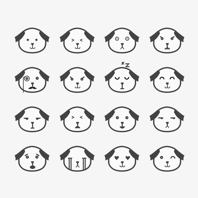 卡通手绘16种小狗表情包
