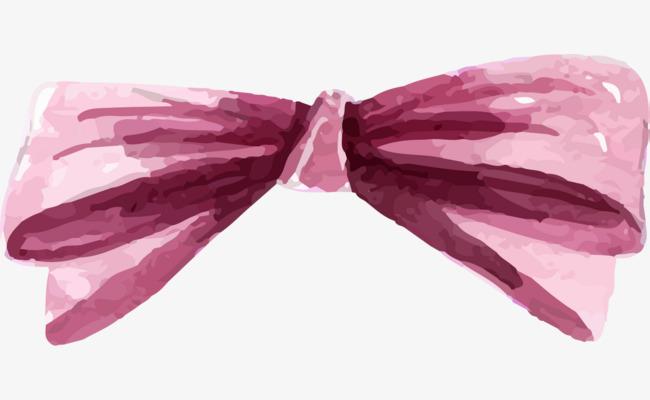 水彩手绘粉色蝴蝶结