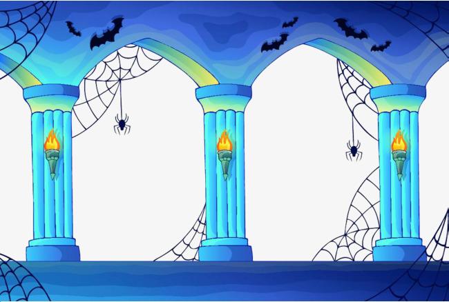 手绘蓝色石拱门上的蜘蛛网