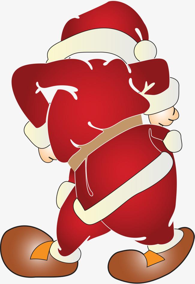 简约圣诞老人背影