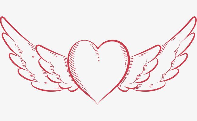 红色线条手绘翅膀爱心