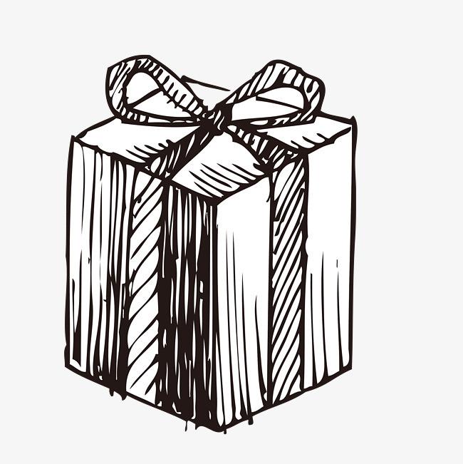 手绘插画 素描 线稿 铅笔画 礼盒 圣诞礼盒手绘插画 素描 线稿 铅笔