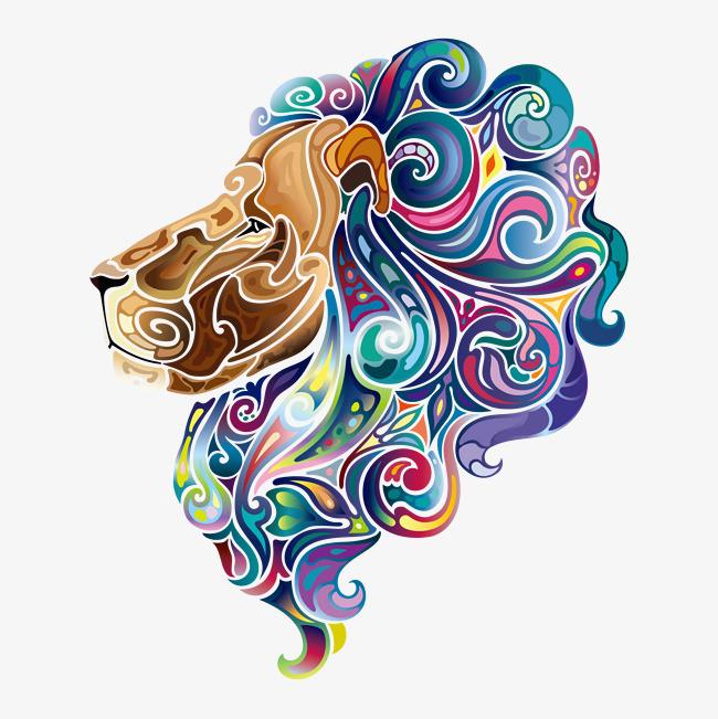 卡通创意民族风动物装饰海报设计狮子