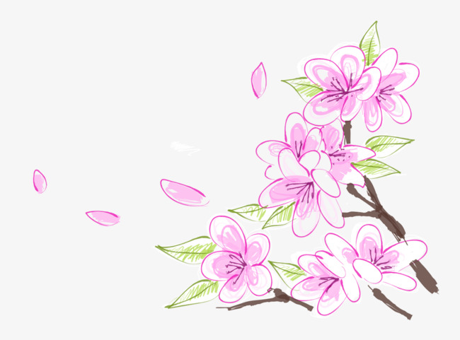 手绘卡通粉色桃花花瓣
