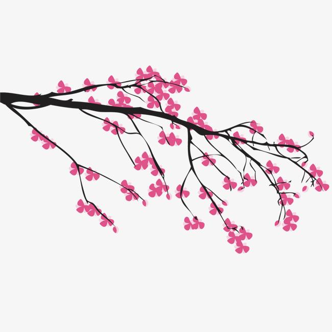 手绘中国画粉色桃花