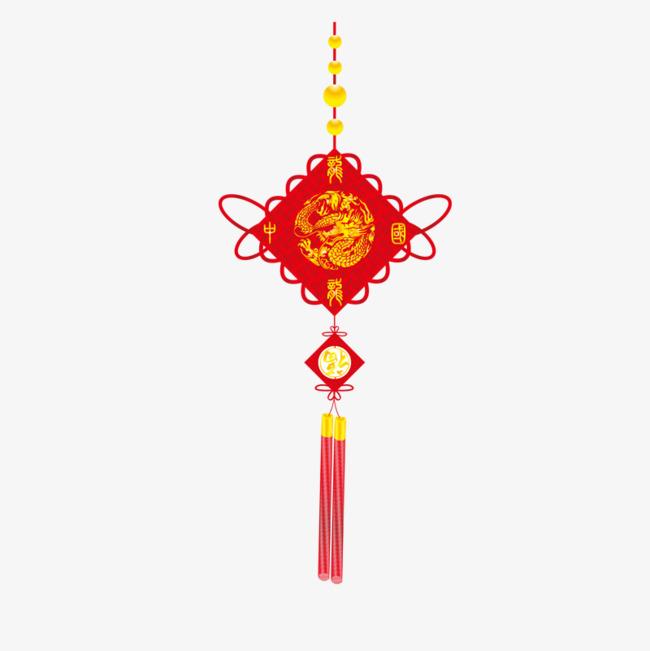卡通手绘红色中国结