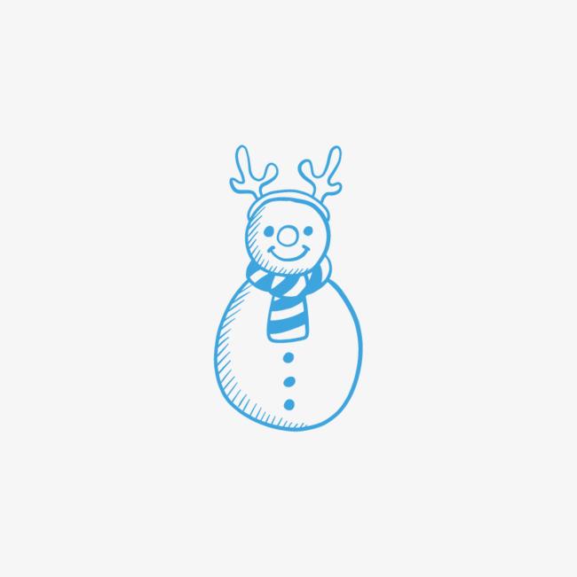 蓝色的手绘圣诞雪人