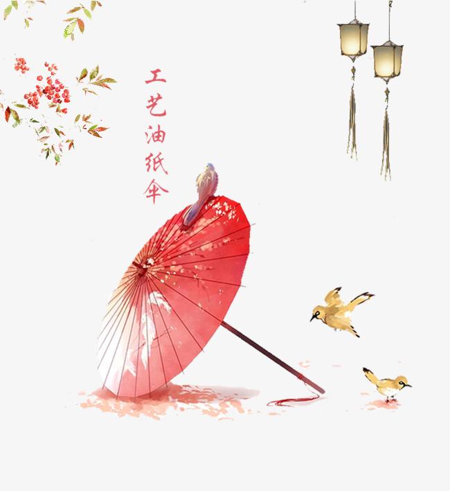 红色手绘古韵水墨伞