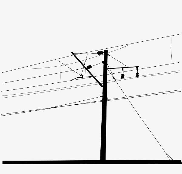 手绘线条黑色电线杆