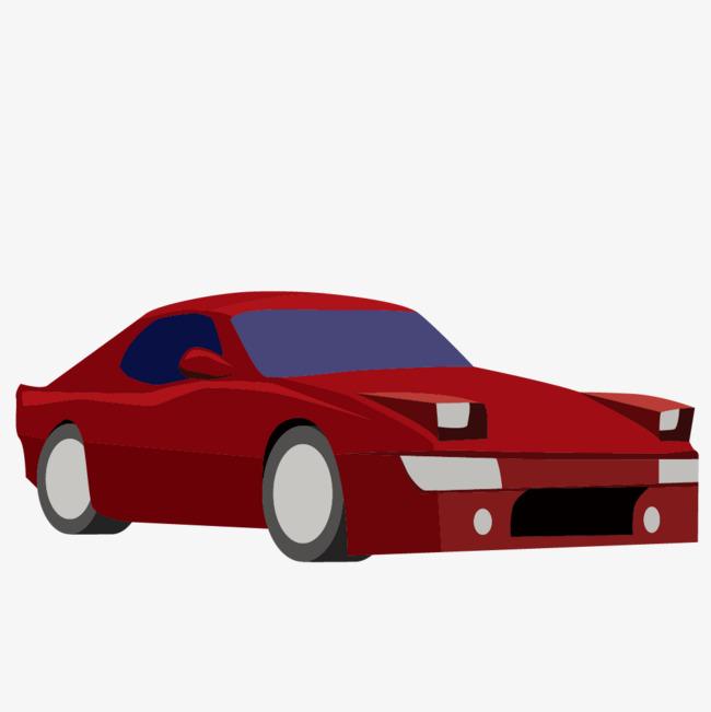 卡通手绘红色的跑车png素材下载_高清图片png格式(:)
