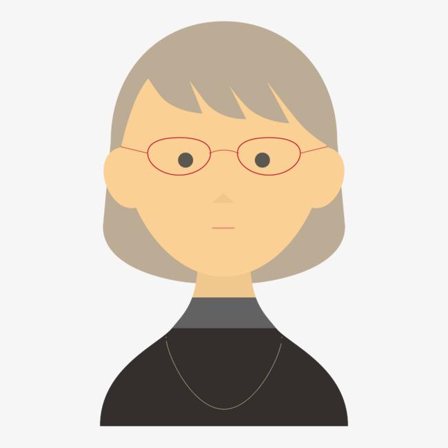 戴眼镜的卡通女人头像