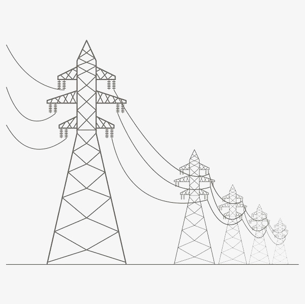 手绘线条黑色高压电线杆