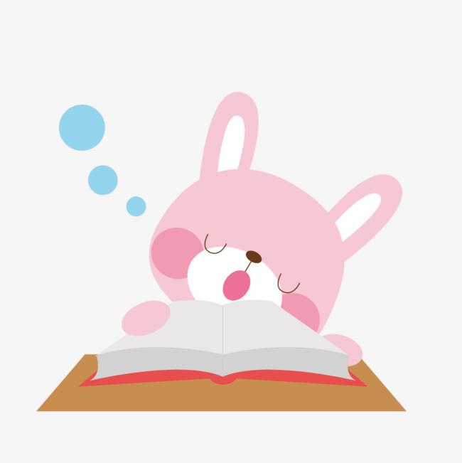 趴书上睡觉的小熊