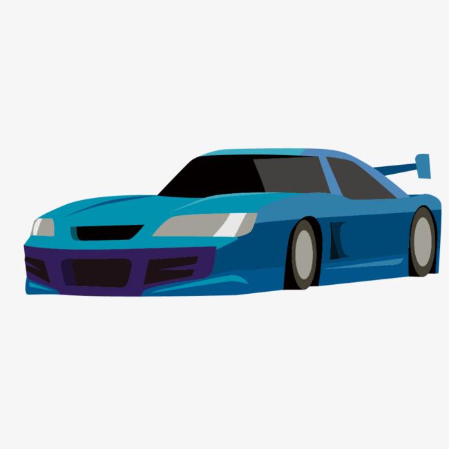 图片 其他 > 【png】 卡通手绘蓝色的跑车