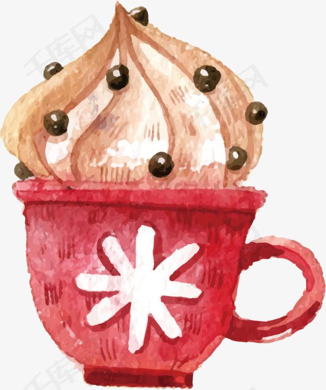 矢量图手绘冰淇淋食物矢量图红色杯子创意甜食冰淇淋美食零食