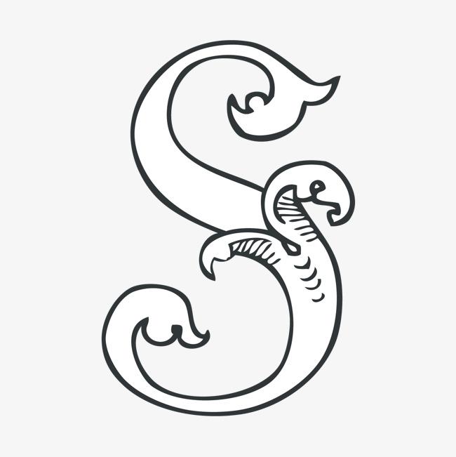 创意卡通装饰英文字母手绘字母s
