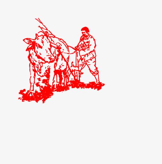红色手绘农耕素材