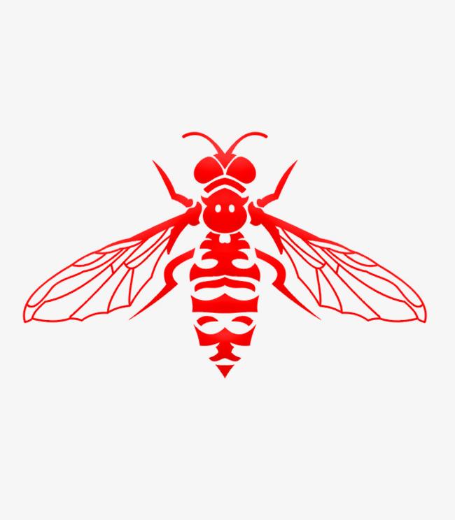 红色蝇子手绘简图