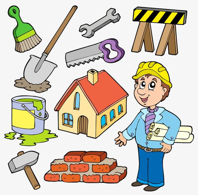 可爱手绘插图装修工人及工具