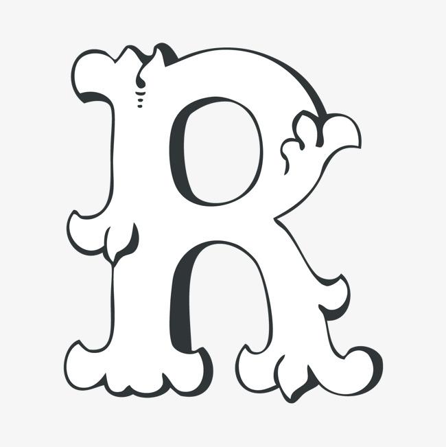 创意卡通装饰英文字母手绘字母r_艺术字设计_千库网