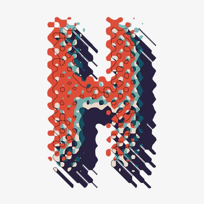 创意卡通装饰英文字母手绘字母h
