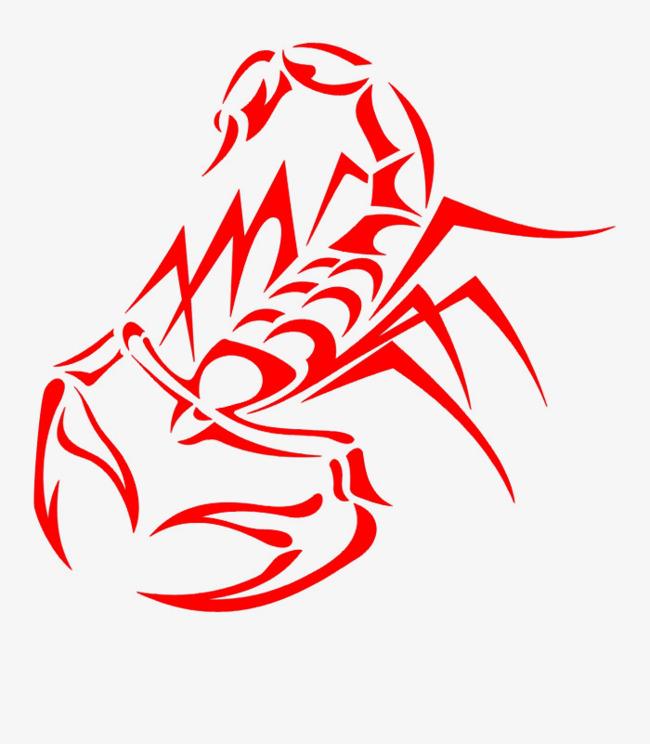 卡通手绘红色的蝎子