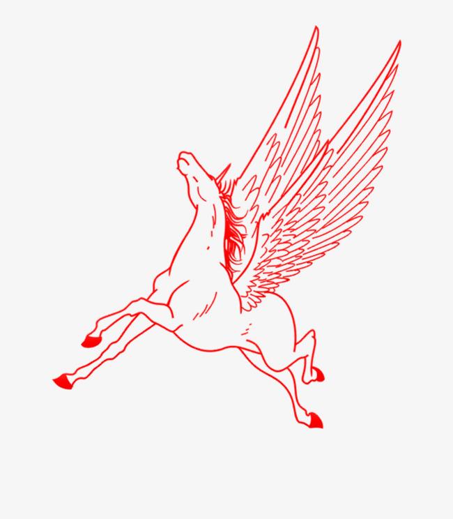 长翅膀的马匹手绘图