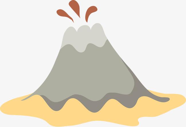 喷发的火山手绘图