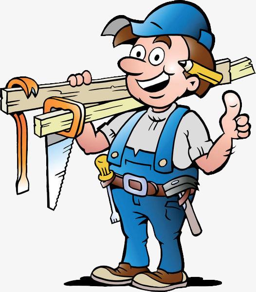 卡通手绘装修工人扛着工具竖起大拇指