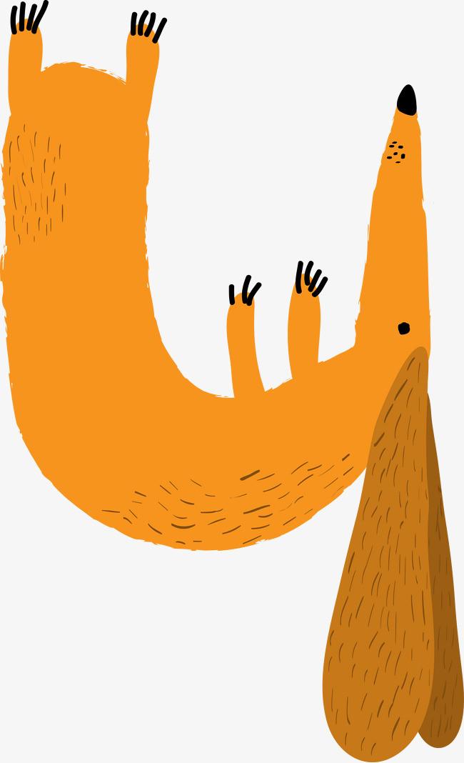 卡通手绘黄色的小松鼠
