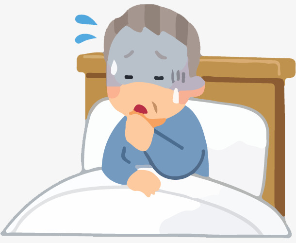 手绘卡通老爷爷在床上咳嗽免抠