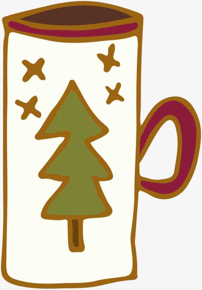 圣诞树图案的杯子杯子圣诞树圣诞节创意手绘图水杯简笔