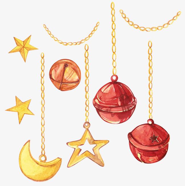 卡通手绘铃铛在星星装饰