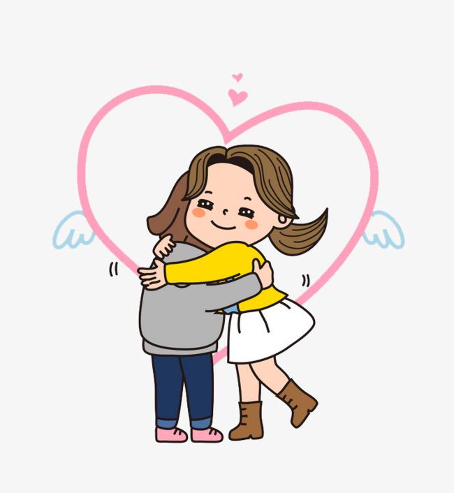 卡通拥抱的情侣免抠图png素材下载_高清图片png格式图片