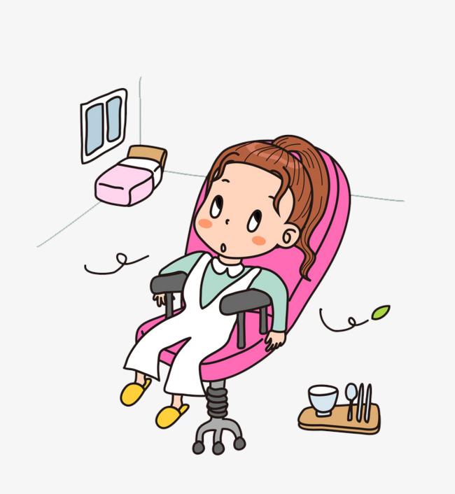高清png手绘动漫素材免费下载,本次卡通坐在椅子上的女孩免抠图作品为图片