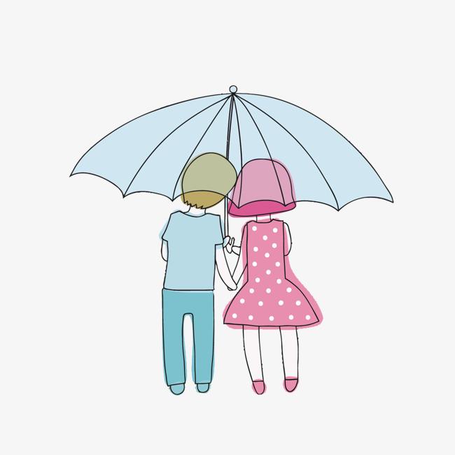 矢量卡通情侣撑伞
