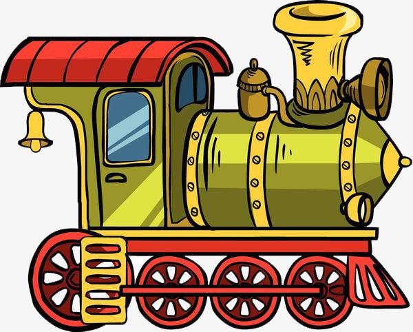 卡通手绘4个轮子的火车头