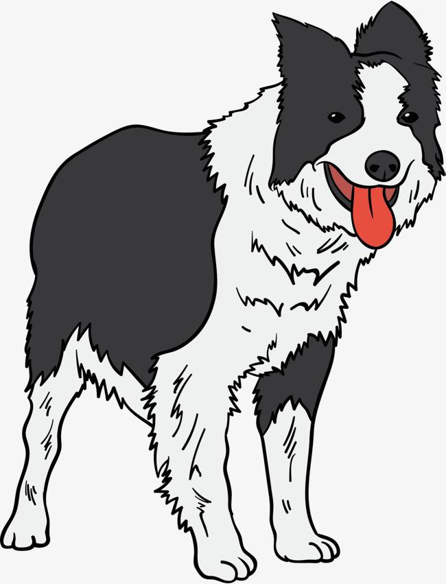 狗年黑白可爱小狗png素材下载_高清图片png格式(编号