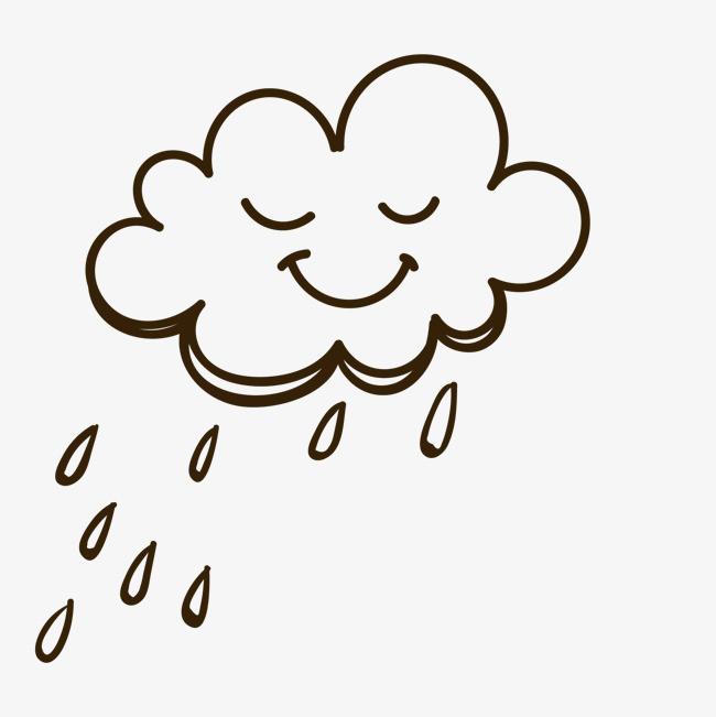 卡通创意手绘下雨的云朵