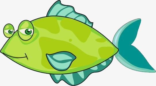 卡通手绘绿色小丑鱼