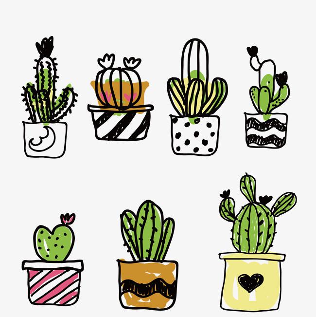 手绘卡通心形仙人掌植物手账png素材下载_高清图片png